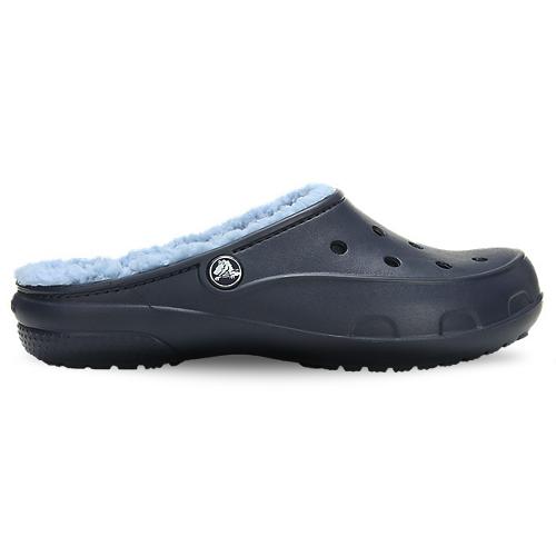Crocs Freesail Plush Fuzz-lined Clog Navy Chambray Blue