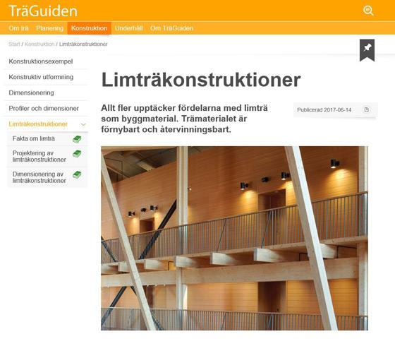 Limträkonstruktioner nytt på TräGuiden